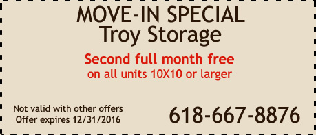 2016 Coupon Special for Troy Storage Center in Troy IL